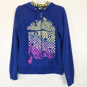 Girls Large Volcom Zip Up Hoodie Jacket Blue